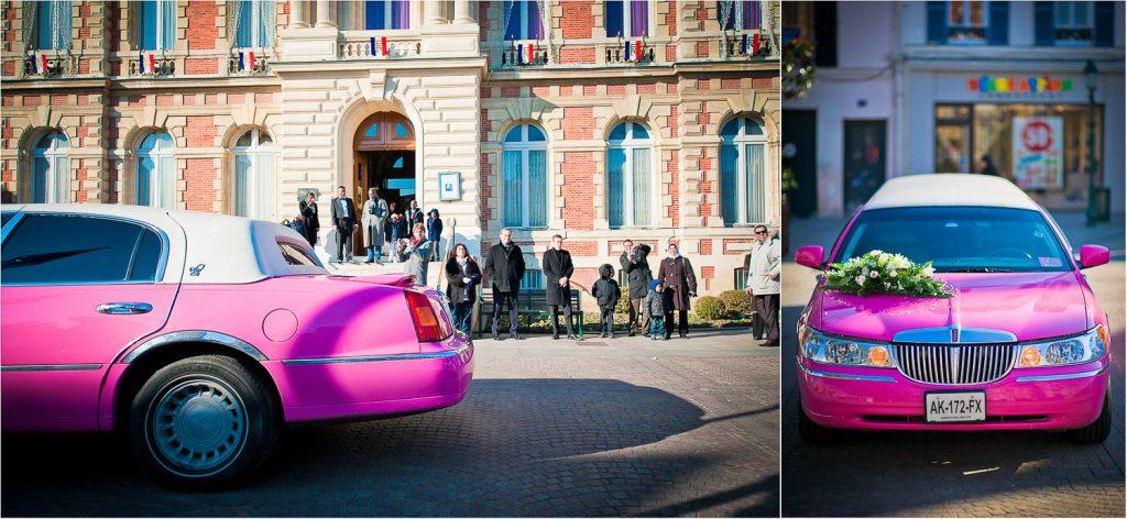 mariage en limousine rose