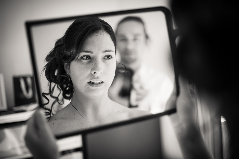 miroir préparatifs mariée