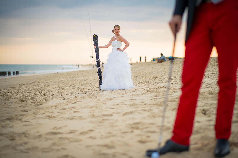 Mariage golfeur et skieur
