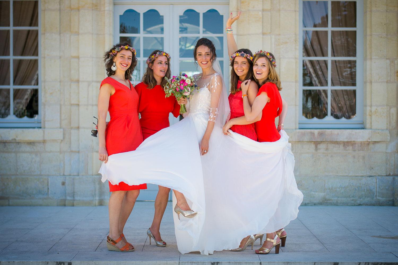 Mariée devant chateau Soutard